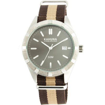 Kahuna - Men\'s Brown Fabric Strap Grey Dial Watch - KUS-0093G - RRP: £29.95 - Online Price: £25.00