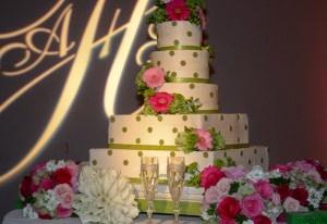 Pink and Green Wedding Cake.
