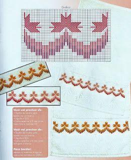 Lindas toalhas de lavabo bordadas em ponto reto - gráfico