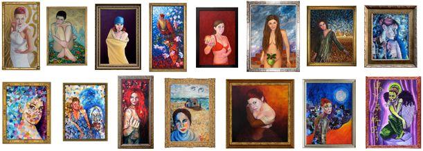 Woman artist self-portraits by a contemporary Ukrainian-American artist and illustrator Natasha Sazonova