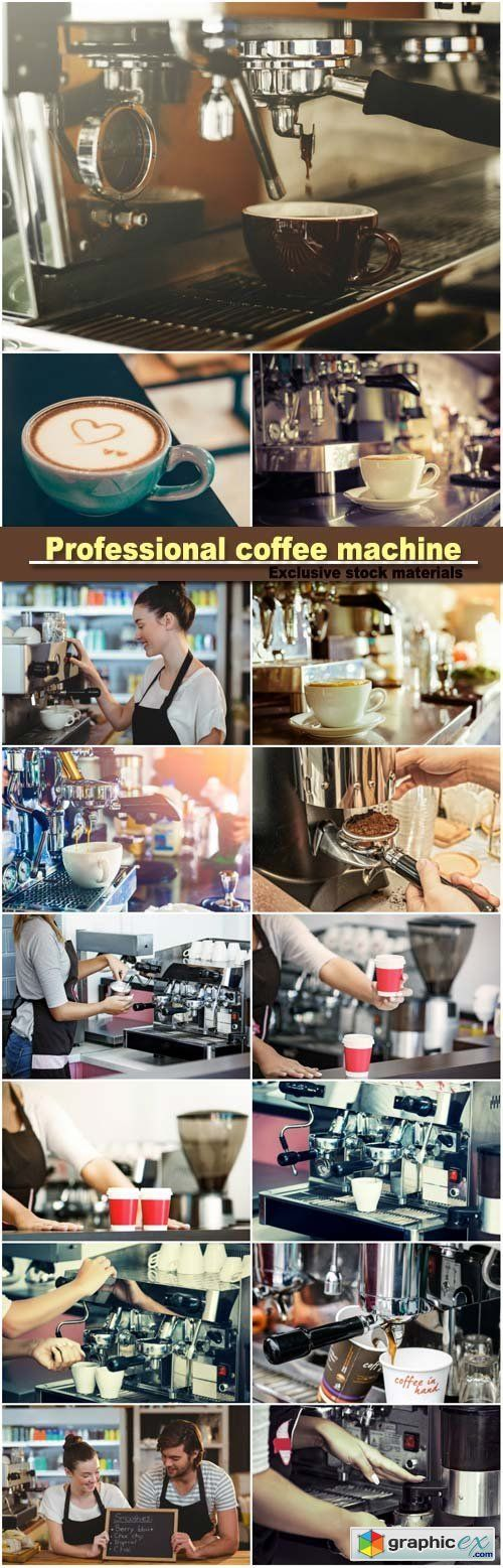 Professional coffee machine fresh coffee  stock images