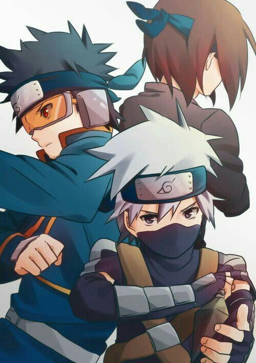 Team Minato, Obito, Rin, Kakashi, young, childhood; Naruto