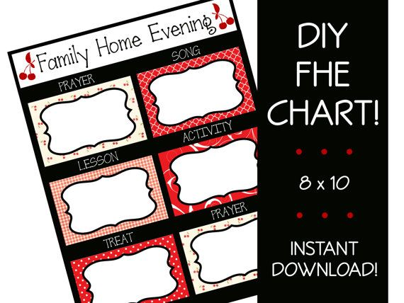 Family Home Evening Chart, INSTANT DOWNLOAD, fhe, lds, Red ...