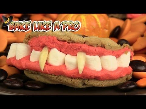 I'll show you how to make these really fun Halloween cookies ! they are called Dracula's dentures ! These are so simple to make you WILL want to try these with your kids ! I start off using some of my home made pecan chocolate chip cookies, then some of my buttercream icing ( a Wilton recipe) along with some mini marshmallows and some almond slivers. The mini marshmallows become the teeth, and the almond slivers become Dracula's fangs !   #Halloween #cookies #Halloweenbaking #trickortreat