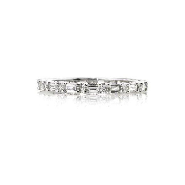 Mark Broumand 0.85 Baguette Cut Diamond Eternity Band ($1,495) ❤ liked on Polyvore featuring jewelry, rings, white, eternity band ring, white ring, baguette diamond ring, round ring and mark broumand