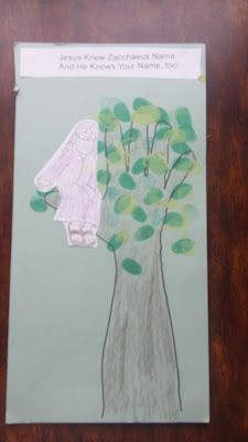 Zacchaeus! tree made with hand print and arm colored brown, leaves made with thumb prints in green paint.  Cut out picture of Zacchaeus glued on.