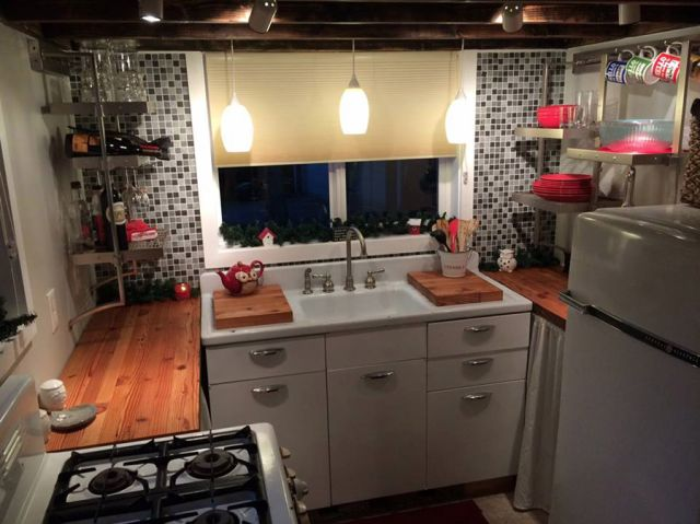This Tiny Home's Kitchen Could Feed a Crowd..retro sink..luv this THOW