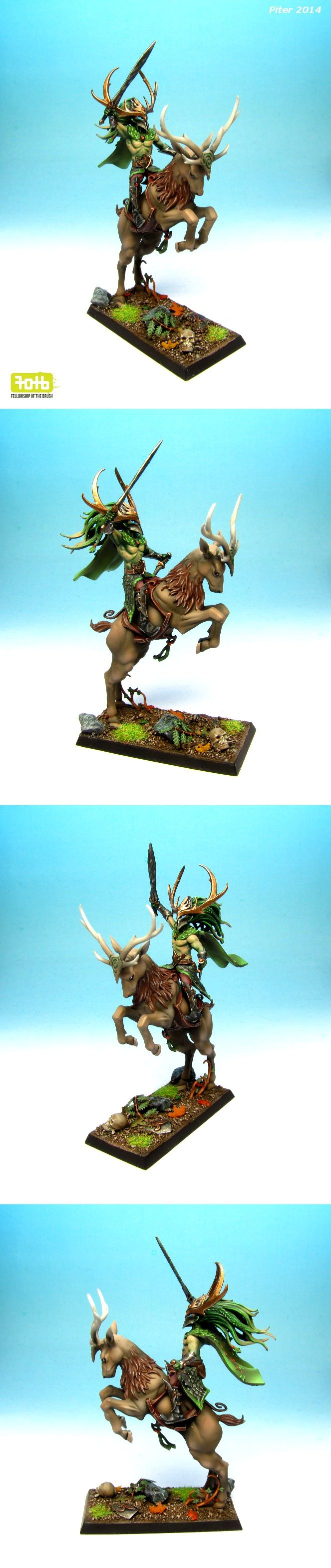 Wood Elf Champion Glade Rider. #woodelves #warhammer #miniaturepainting