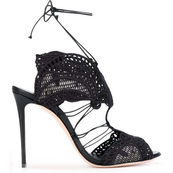 Casadei macramè lace evening sandals (€1.055) ❤ liked on Polyvore featuring shoes, sandals, black, black cocktail shoes, black evening shoes, evening shoes, lace shoes and lace evening shoes