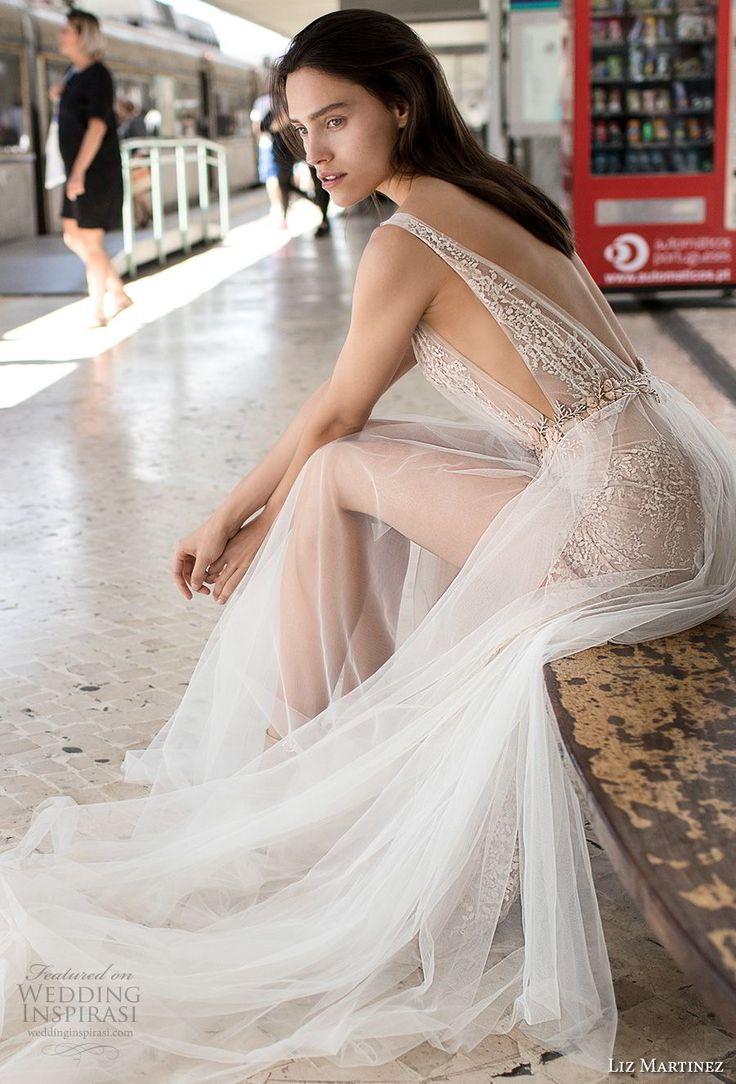liz martinez 2018 lisbon sleeveless deep plunging v neck full embellishment romantic sexy soft a line wedding dress open v back sweep train (12) zsdv