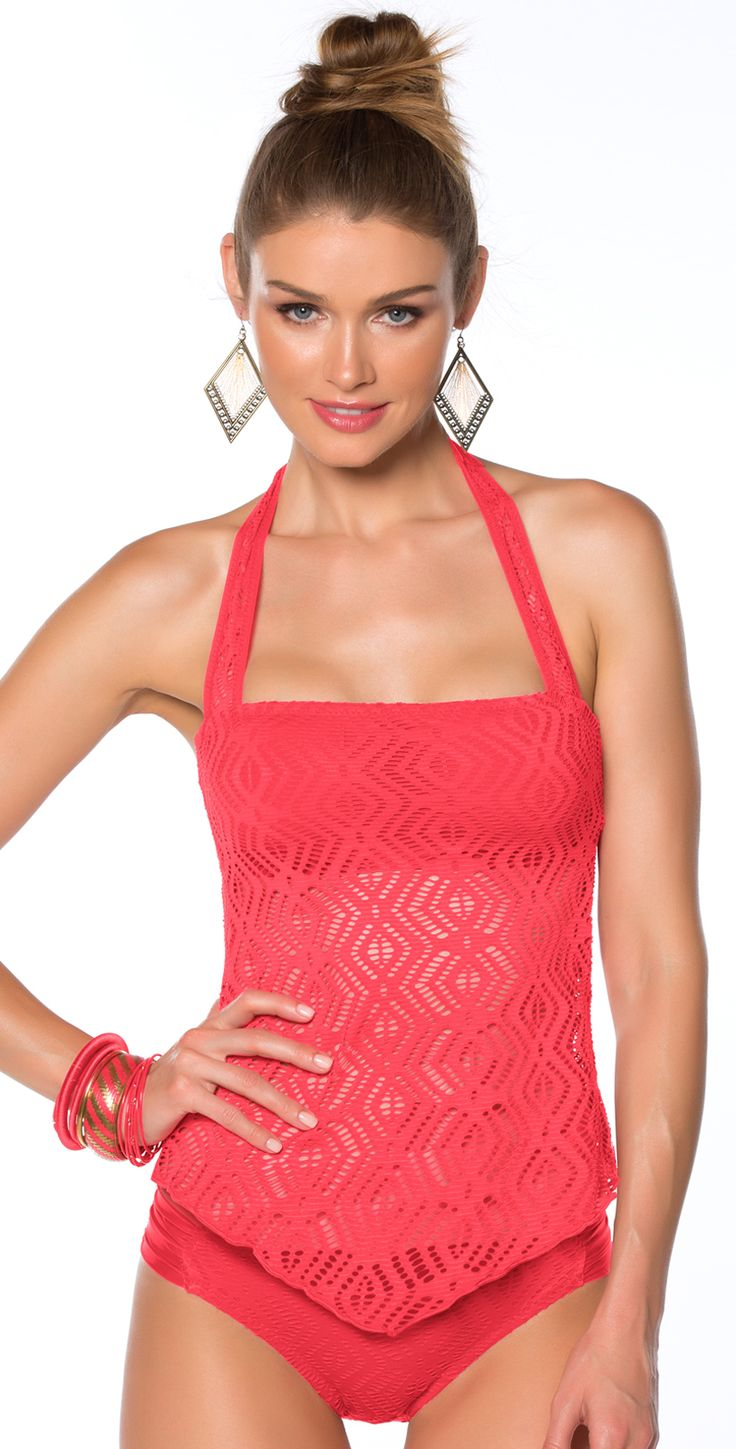 This Becca 2014 Just A Peak Tart Tankini Top ties at the neck with soft, removable straps and side bone for support and to ensure the top stays. The back of this tankini falls straight across the bra line. The crochet material comes down to a slight