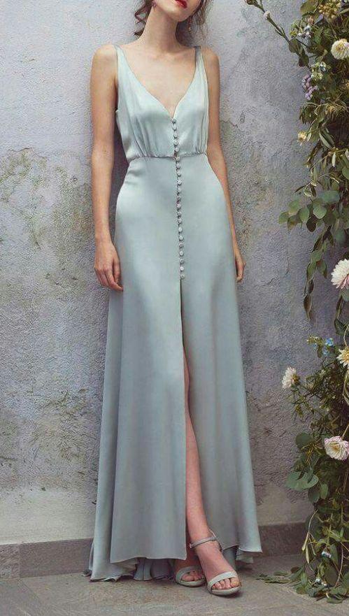 Attractive V-neck, Grey Sleeveless Evening Dress, Elegant Ball Gown And Cross-skirt