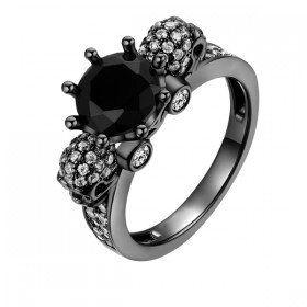 Head Black Diamond Plated Sterling Silver Two Skull Designer Women's Ring