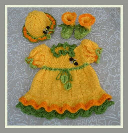 Daffodil Bee Baby Dress, booties & Sun Hat Pattern found at www.tbeecosy.com