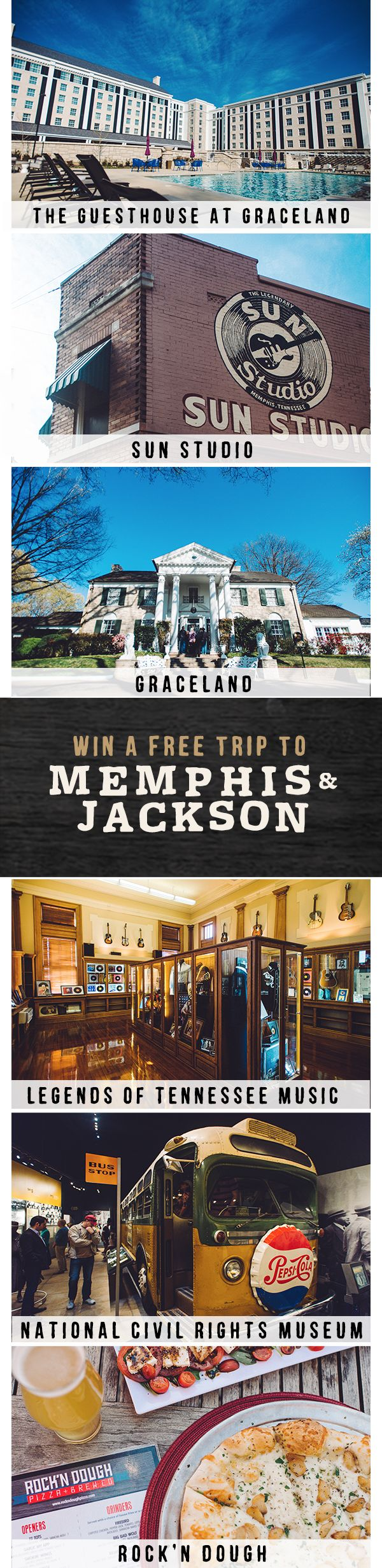 We're giving away a free trip to Memphis and Jackson. Simply match all the same amazing spots in this pin at tnvacation.com/matchmytrip, and you'll be entered for a chance to win!