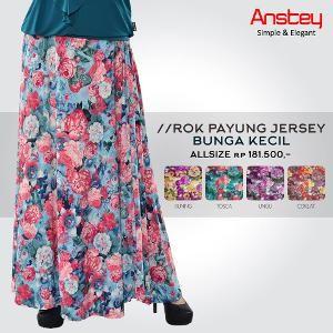 Rok Payung Soft Jersey Bunga Kecil Warna Toska