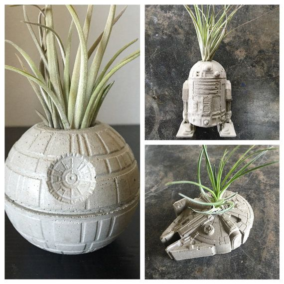 Get your favorite nostalgic and memorable pieces all in one package! The perfect gift idea for the holidays, birthdays... or keep for yourself!. :)  This listing is for: (1) Concrete Death Star 2 1/2 Dia  (1) Concrete Millennium Falcon 2 1/2W x 3 1/4L x 3/4D (1) Concrete R2D2 2W x 2 1/2L x 1H  *All Planters INCLUDE an air plant!*  PLEASE TAKE NOTE OF DIMENSIONS BEFORE PURCHASE.  Concrete is sealed for durability. **Please note, these are handmade and slight variations...