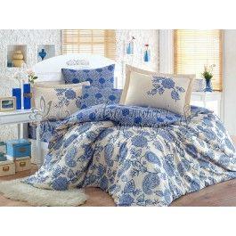 Hobby Home Antonia - lenjerie de pat din bumbac satinat albastru 2 persoane