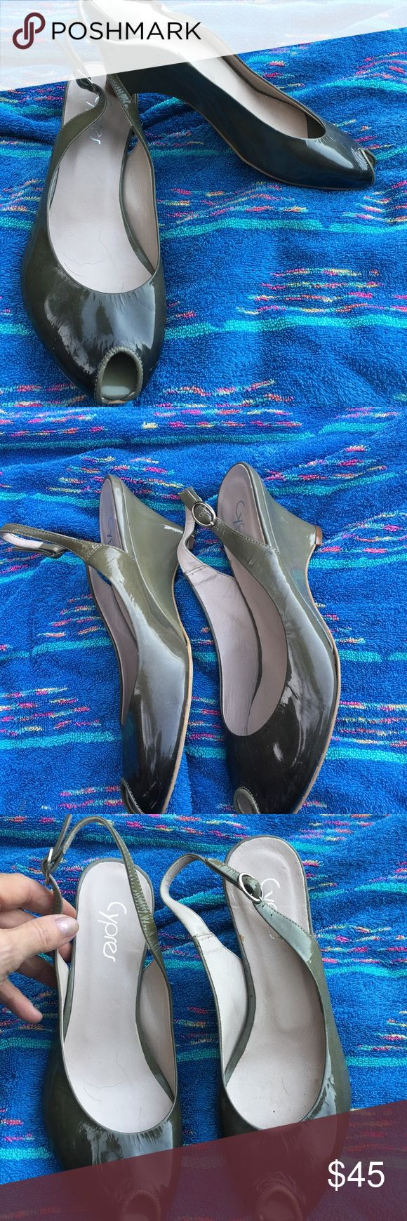 NEW GRAY OMBRE PATENT LEATHER SLINGBACK WEDGE PUMP Brand new $125 opentoe slingback pumps in an amazing gray ombre.  Wedge heel. By Cypres. Size 38 cypres Shoes Wedges