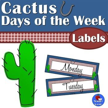 Retro western themed days of the week signs. Great for bulletin boards, organizers, bin labels and more!* * * * * * * * * * Check out this matching resource!Bluebonnets and Cactus Reading Set* * * * * * * * * * Terms of Use Copyright  Terbet Lane. All rights reserved by author.