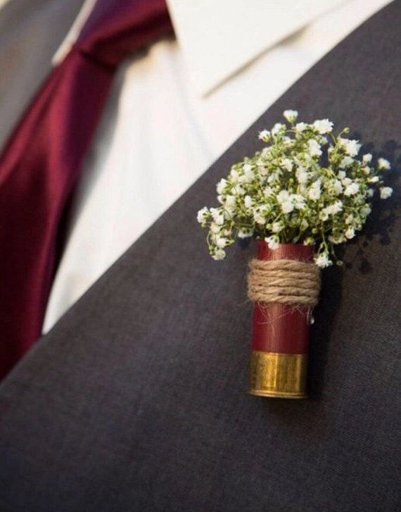 Shotgun shell wedding boutonnieres by TinasdesignsCrafts on Etsy