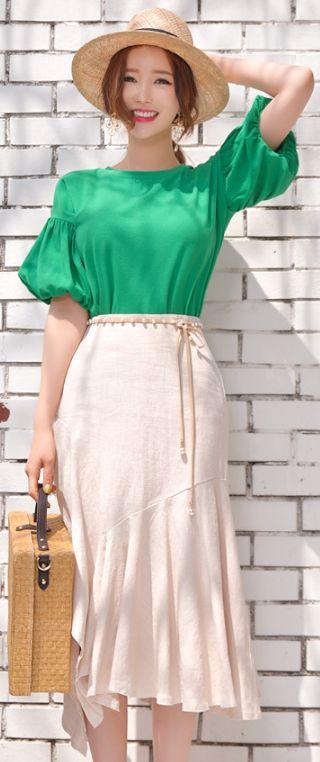StyleOnme_Asymmetrical Hem Flared Linen Skirt #summer #spring #linen #feminine #koreanfashion #kstyle #kfashion #dailylook #skirt