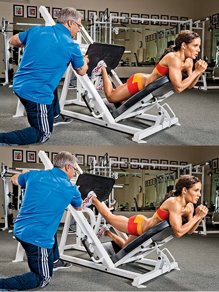 Lift your butt and get a sexy rear view with this leg press kickback exercise