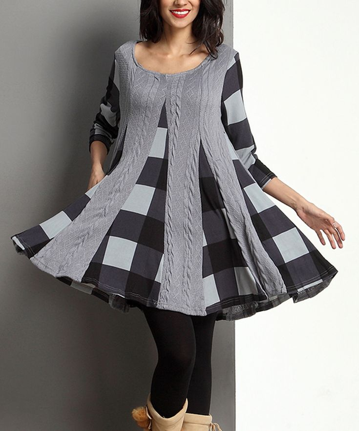 Look at this Gray Mixed Media Inset Swing Tunic on #zulily today!
