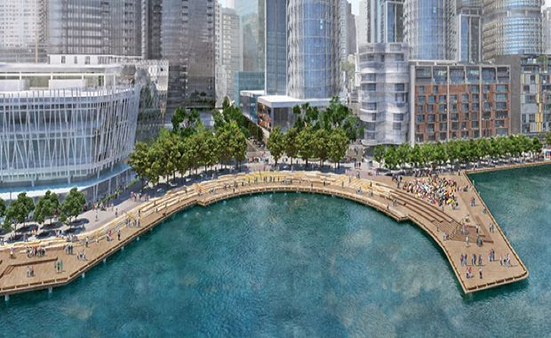 A new cove, a one-hectare public park, an expanded waterfront walkway and a public pier are the key features of the next Barangaroo South delivery.
