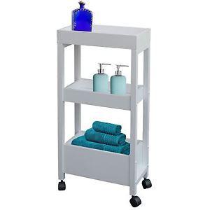 3 Tier White Wooden Bathroom Kitchen Storage Trolley Toiletries Towel Organiser