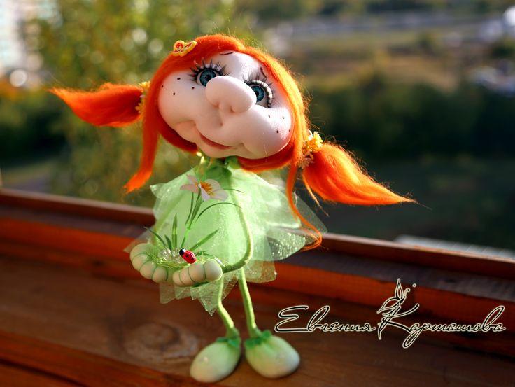 """Девчушка по МК Е. Лаврентьевой """"Росток жизни"""" #игрушки #ручнаяработа #капрон #скульптурныйтекстиль #подарок #кукла #Handmade"""