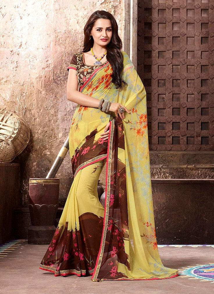 Gratifying Yellow and Brown Coloured Georgette Digital Print Indian Designer Saree At Best Price By Uttamvastra - Online Shopping For Women