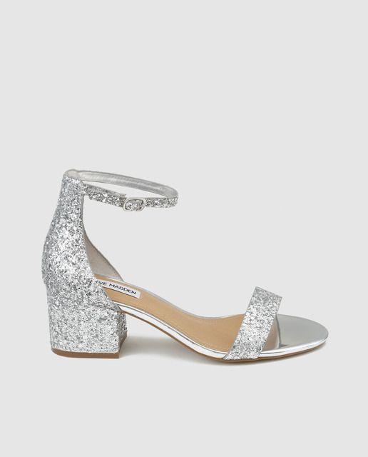 Sandalias de tacón de mujer Steve Madden de  glitter plata