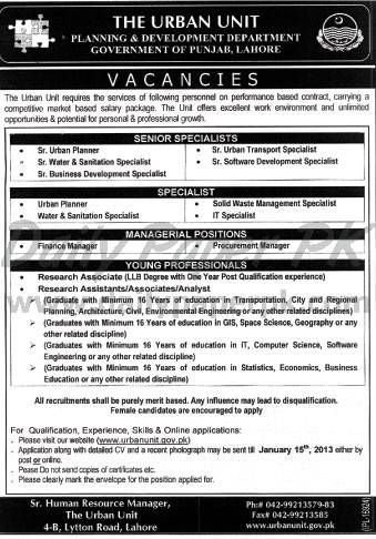 Jobs In The Urban Unit, Planning & Development Department Lahore  http://www.dailypaperpk.com/jobs/178143/jobs-urban-unit-planning-development-department-lahore