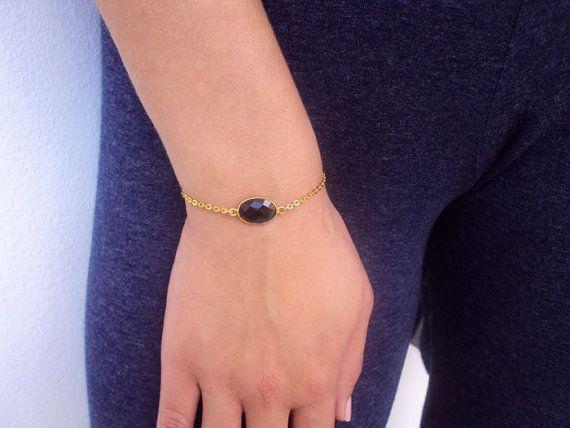 Dainty Gold Bracelet Crystal Bracelet 14K Gold by VasiaAccessories