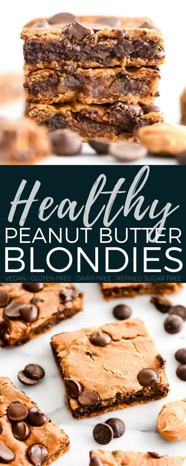 1 15 oz can chickpeas (garbanzo beans), rinsed and drained ½ cup peanut butter ¼ cup honey can substitute maple syrup for a vegan option ¼ cup coconut sugar 1 TBS almond milk 2 tsp vanilla ½ tsp salt ½ tsp baking powder ¼ tsp baking soda ½ cup chocolate chips