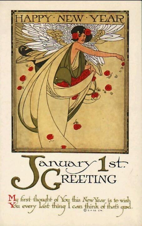 Art Nouveau New Year Postcard