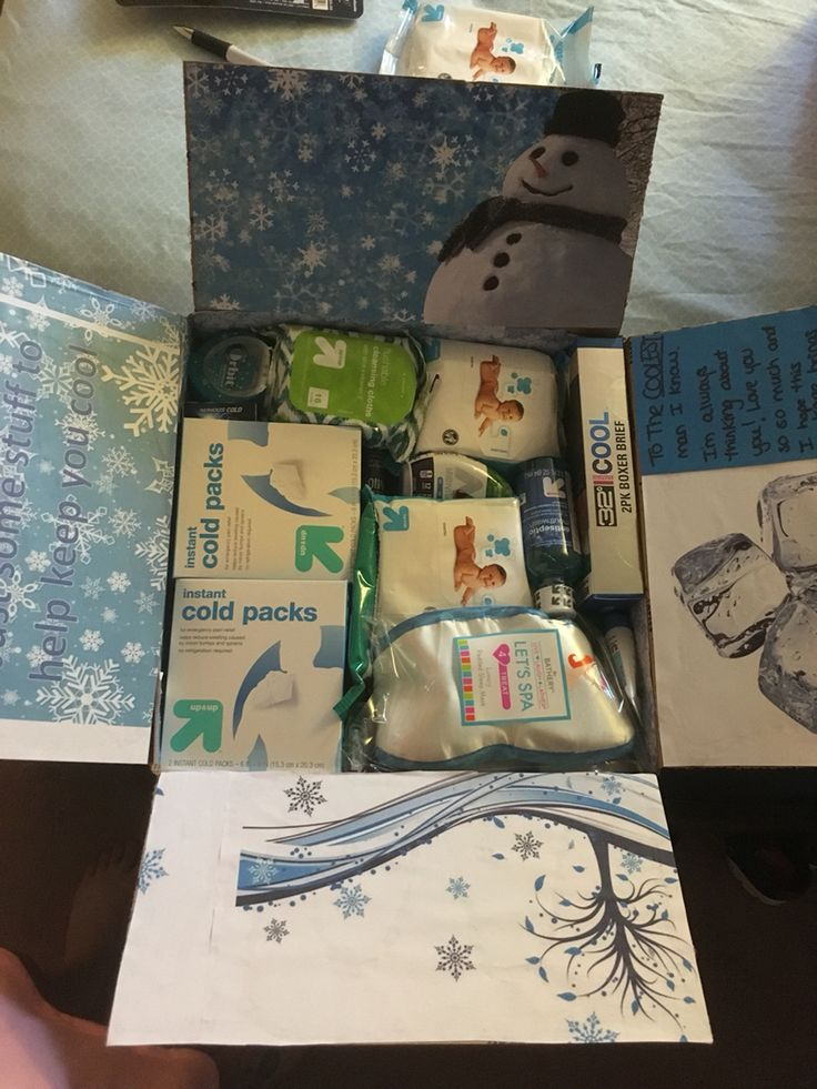 Keep cool deployment package Includes: instant ice packs, a sleeping mask, moisturizing Chapstick, cooling cleansing cloths, wash cloths, a blue loofa, cooling underwear (from Macy's), cooling pj set (Macy's), mio, dentyne ice, and other misc cool themed items.