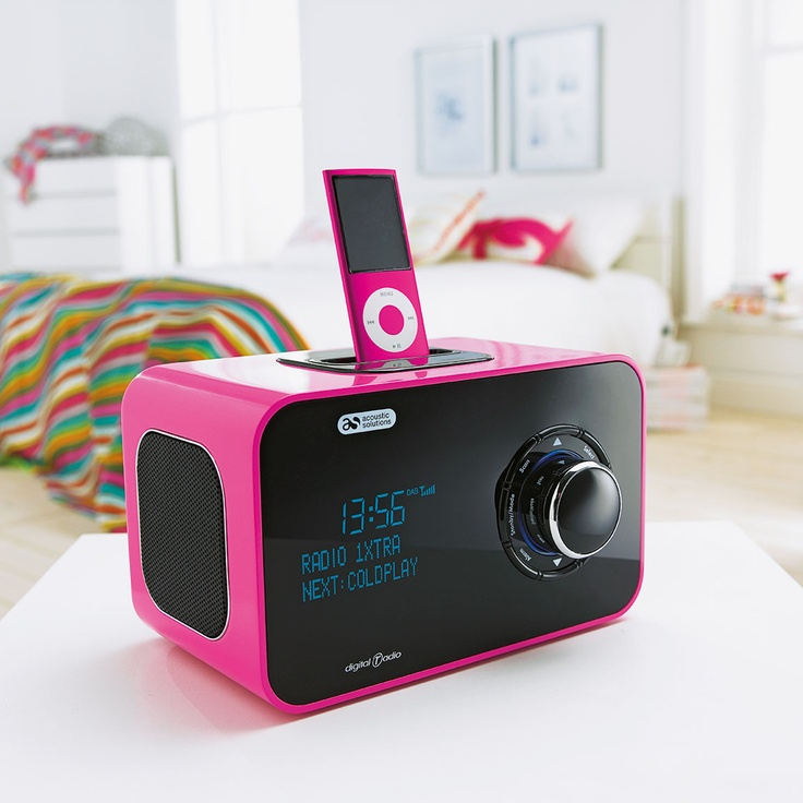 This DAB digital radio and speaker dock from Argos comes in hot pink.