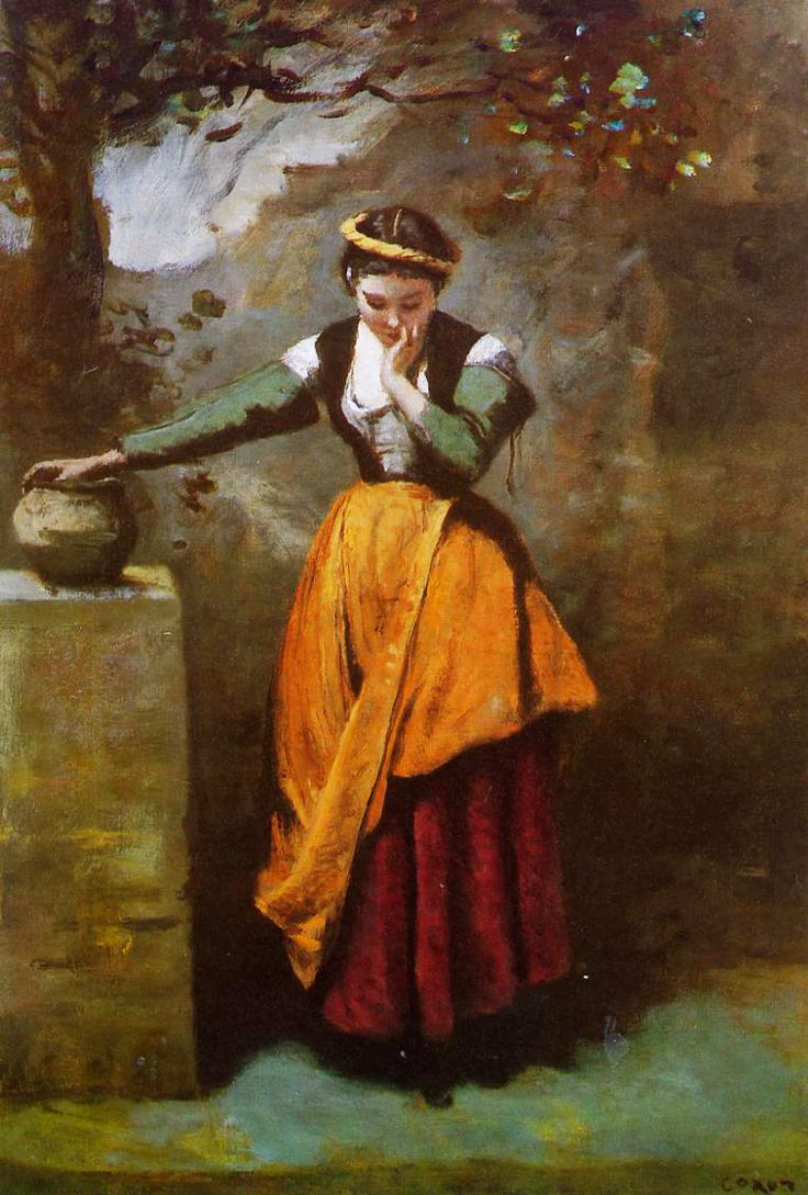Daydreaming at the Fountain, Jean-Baptiste-Camille Corot (c1860)