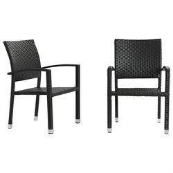 Modern Outdoor Dining Chair Set of Two Brown Rattan Wicker