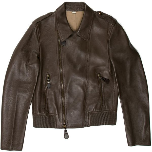 Pre-owned Burberry Leather Biker Jacket ($715) ❤ liked on Polyvore featuring men's fashion, men's clothing, men's outerwear, men's jackets, brown, mens jackets, burberry mens jacket, mens brown jacket and mens brown leather motorcycle jacket