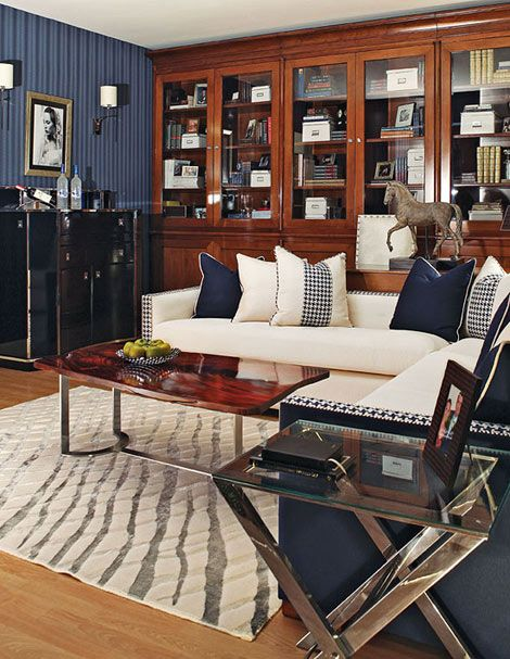"""""""man cave"""" extraordinare - Traditional Home magazine - love the Bar, tables..very Ralph Lauren Style"""