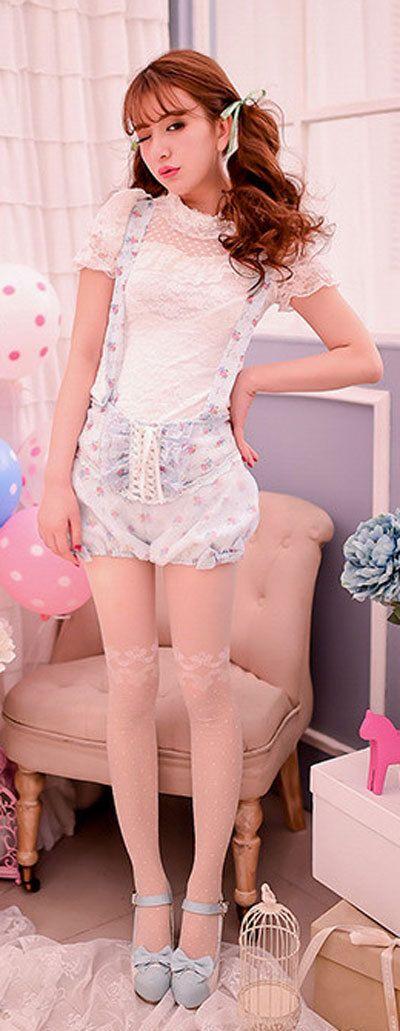 Adorable Cute Floral Dungaree Shorts ☆japanese Kawaii