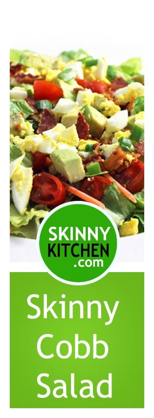 Skinny Cobb Salad. So simple to create and makes a wonderful main course salad. Each serving has 248 calories, 12g fat and 5 SmartPoints. http://www.skinnykitchen.com/recipes/skinny-cobb-salad/