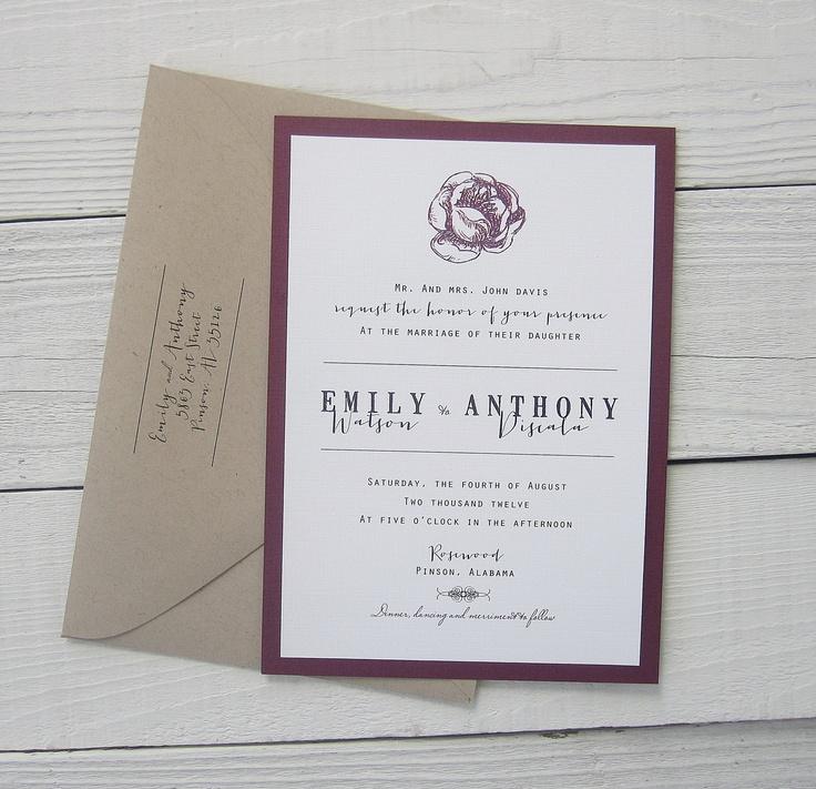 Modern Script Wedding Invitation Purple Kraft