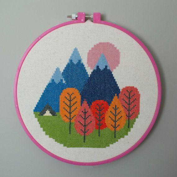 Mountain Camping Cross Stitch Pattern by JoyfulByStephanie