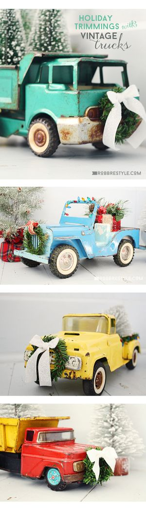 Move over gingerbread house, we've got a better holiday project for the whole family - create holiday trimmings with vintage toy trucks. Check it out!