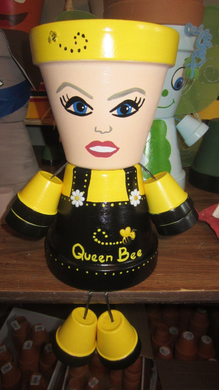 Pot People Person Ladybug Bumblebee Hula Girl Scarecrow Bert Ernie Owls Dallas Eagles Phillies Nurse Cat Dog Tweety Bird Painted & Sealed by GARDENFRIENDSNJ on Etsy
