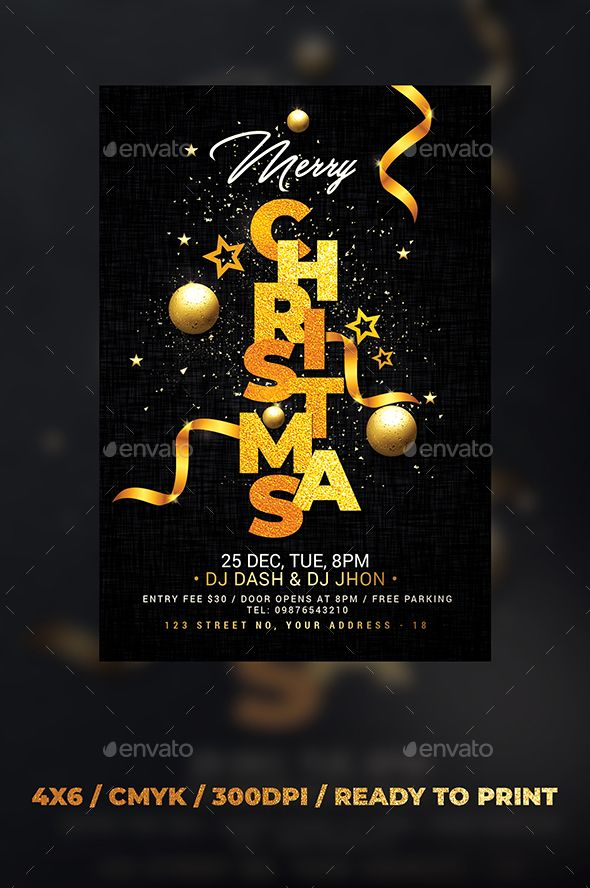 Merry Christmas Flyer Template PSD \u2022 Easy Customisable Text \u2022 CMYK
